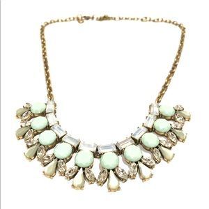 J CREW mint pearlized winter white gold necklace